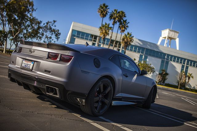 2010 Camaro vinyl wrapped with 3M 1080-M261 Matte Dark Gray by Rolotech Car Wraps