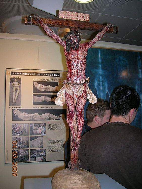 Using the Shroud of Turin as a guide of position, injuries, and blood pattern, they created this crucifix so you could see what Jesus would have looked like on the cross.