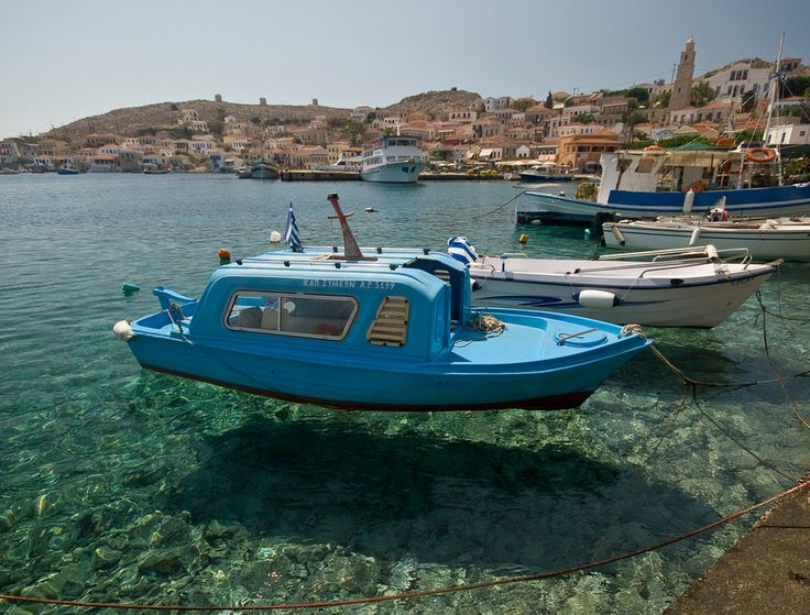 Hovering? The water at Halki harbour is so crystal clear that the boats appear to be hovering.