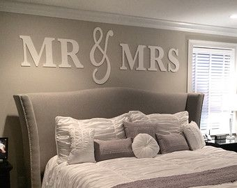 Mr & Mrs Wall Sign Above Bed Decor  Mr and Mrs Sign for Over