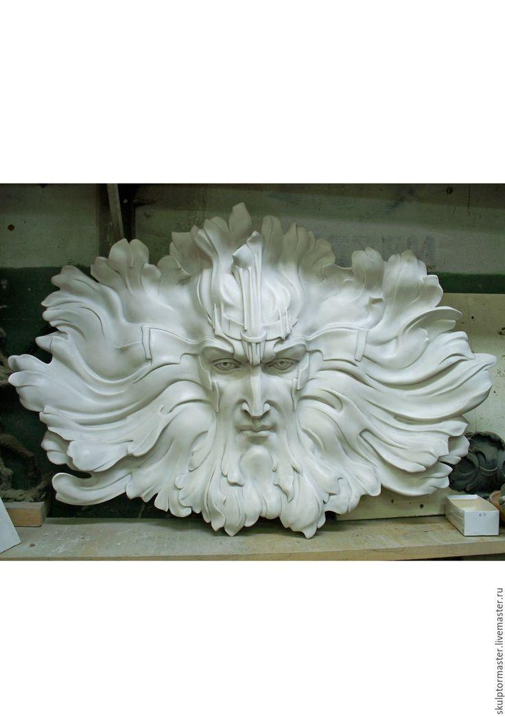 Купить Бог солнца - белый, интерьерная маска, скульптурный рельеф, скульптура из камня, мифология, бог