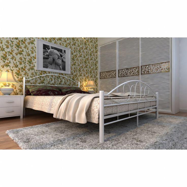 Kovová postel krémová s roštem Dekorhome