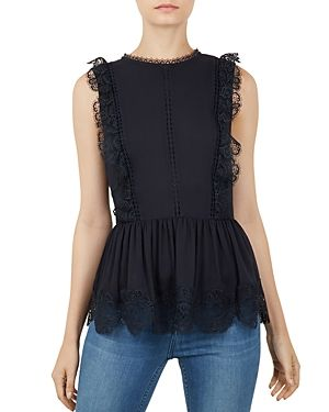 26b6341d4aa0 TED BAKER OMARRI LACE-TRIMMED PEPLUM TOP.  tedbaker  cloth