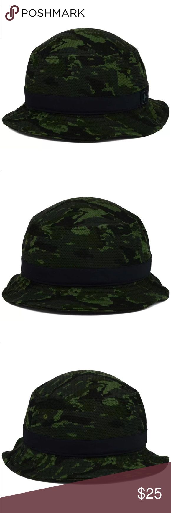 Men's Under Armour UA HeatGear M-L Camo Bucket Hat Color: Black/camo Material: Made of 100% Polyester, Woven Departments:  Stretch Fitted,Bucket Crown:  Mid  Fit:  Structured  Bill Type:  Normal Under Armour Accessories Hats