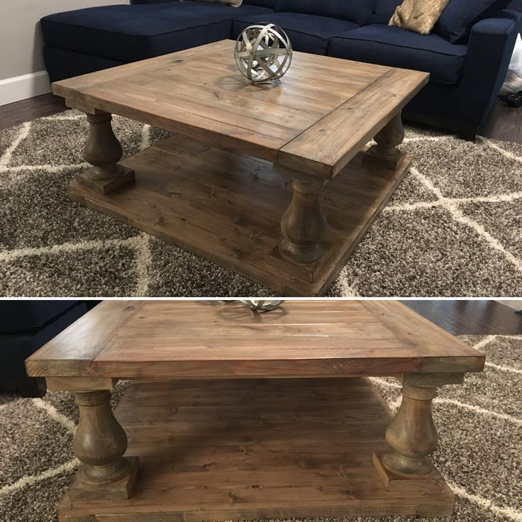 For our media room upstairs I built this lovely balustrade coffee table using turned legs and pine boards. Stain in a combo of Weathered Oak, slight white wash, then a very sparse layer of Jacobean. It's almost an exact replica of the Restoration Hardware version and only cost me $150 to make. Most of the cost was in the turned legs at $28 each.