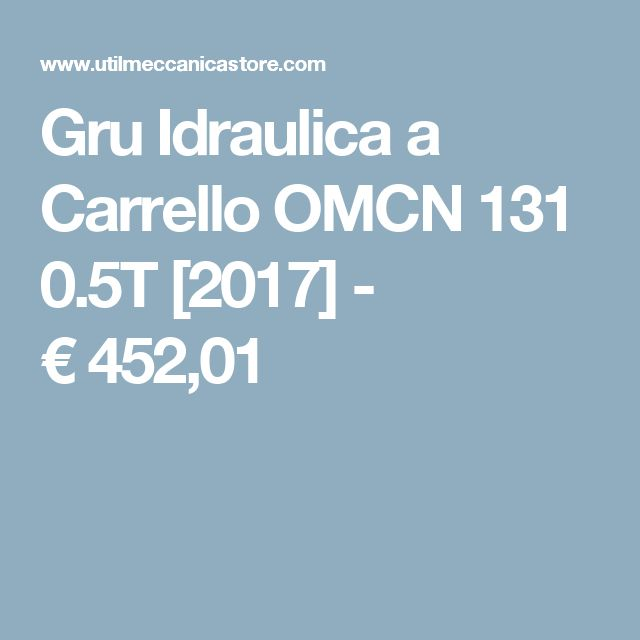 Gru Idraulica a Carrello OMCN 131 0.5T [2017] - €452,01