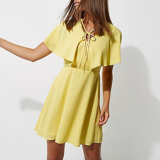 Bon All About This Preeeety Yellow // Yellow Tie Neck Cape Dress