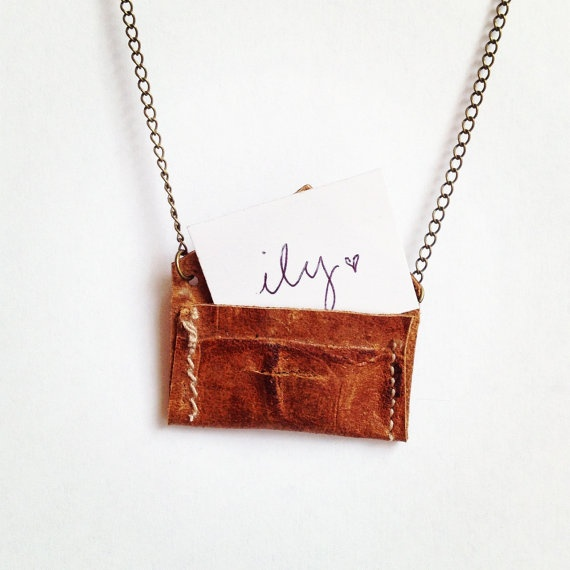 Secret Heart Necklace  Brown Leather Envelope by flockaccessories, $22.00