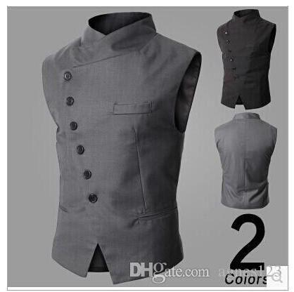 Shop Vests Online, New Arrival! Men Suit Vest Slim Dress Vests Men'S Fitted Leisure Waistcoat Casual Business Jacket Tops Six Buttons With As Cheap As $10.48 Piece | Dhgate.Com