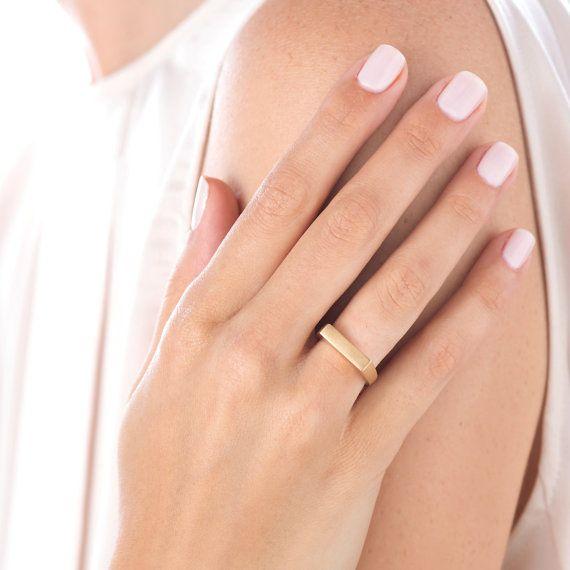 Thin Wedding Band Unique Engagement Ring Minimalist by YAMAjewelry