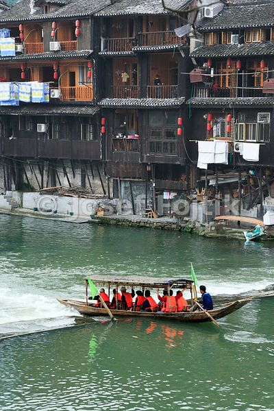 Tourist boat on the Tuo Jiang River, Fenghuang Town, Hunan, China