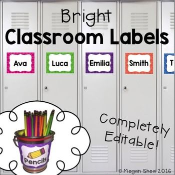 These labels are completely editable! They are perfect for locker tags, cubby or mailbox tags, classroom library labels, supply labels or anything that you would need to label! They are bright and eye catching to make your classroom pop!There are five large rectangular labels and four thin rectangular labels included.