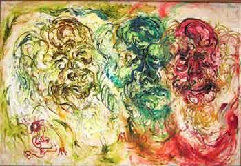 Affandi, The Three Expressions of Affandi, 1979, Oil on canvas