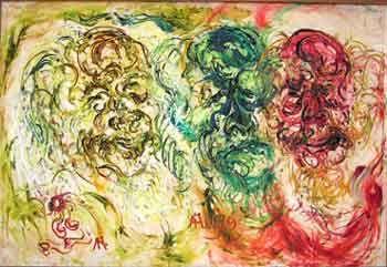 Affandi, The Three Expressions of Affandi, 1979, Oil on canvas
