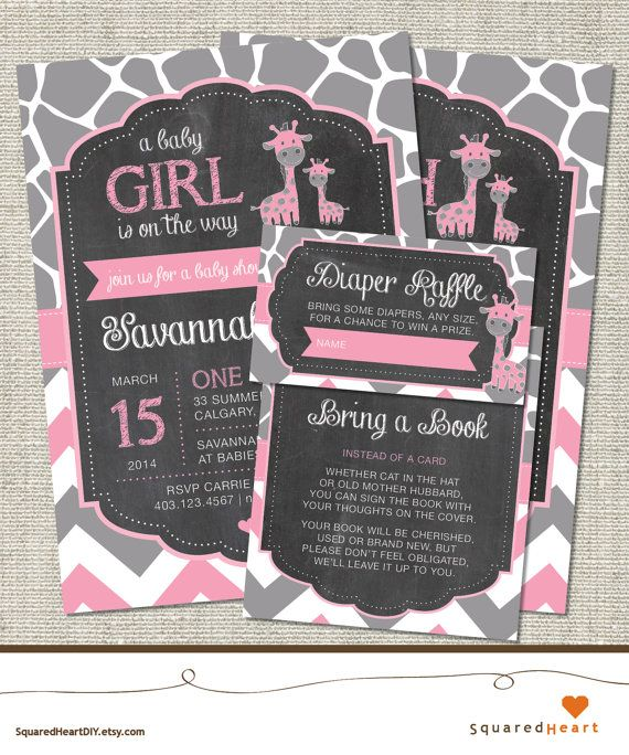 Giraffe Baby Shower Invitation Pink Giraffe by SquaredHeartDIY