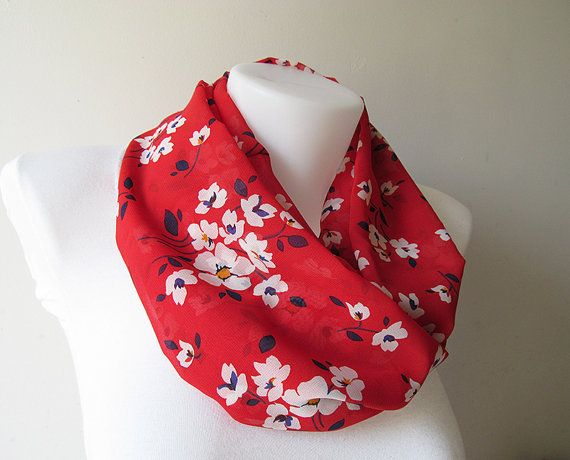 Red Infinity Scarf Floral Pattern Chiffon Infinity Scarf