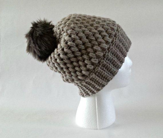 Bobble hat faux fur pom pom slouchy beanie by KnittingbyKali