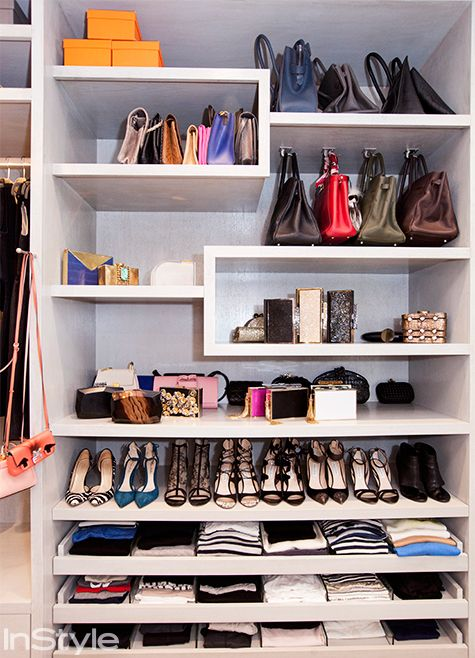"""To maximize space, especially when you have limited space, build the closet all the way up to the ceiling,"" she says. ""Don't stop the woodwork—utilize every space. I keep boxes of pictures up there and shoe bags."""