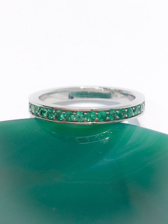 14K Pave Emerald Half Eternity Band 2mm White Gold Emerald Matching Band 14K Natural Emerald Infinity 14K Green Birthstone 1.8mm Stacking