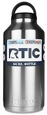 Rtic Stainless Steel Bottle 64oz Keeps Drinks Hot or Cold for Hours Screw Top