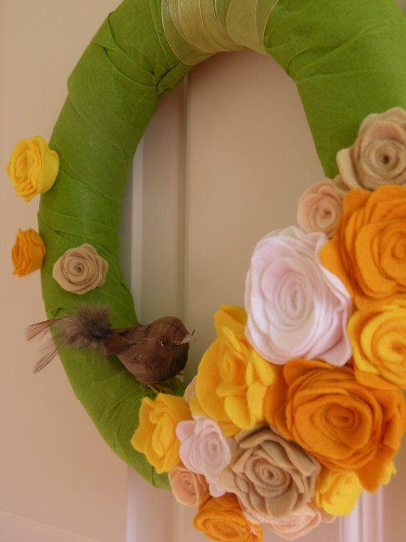 Spring wreath, Summer wreath, Floral wreath, 10'' size, House and decor, Felt flower,