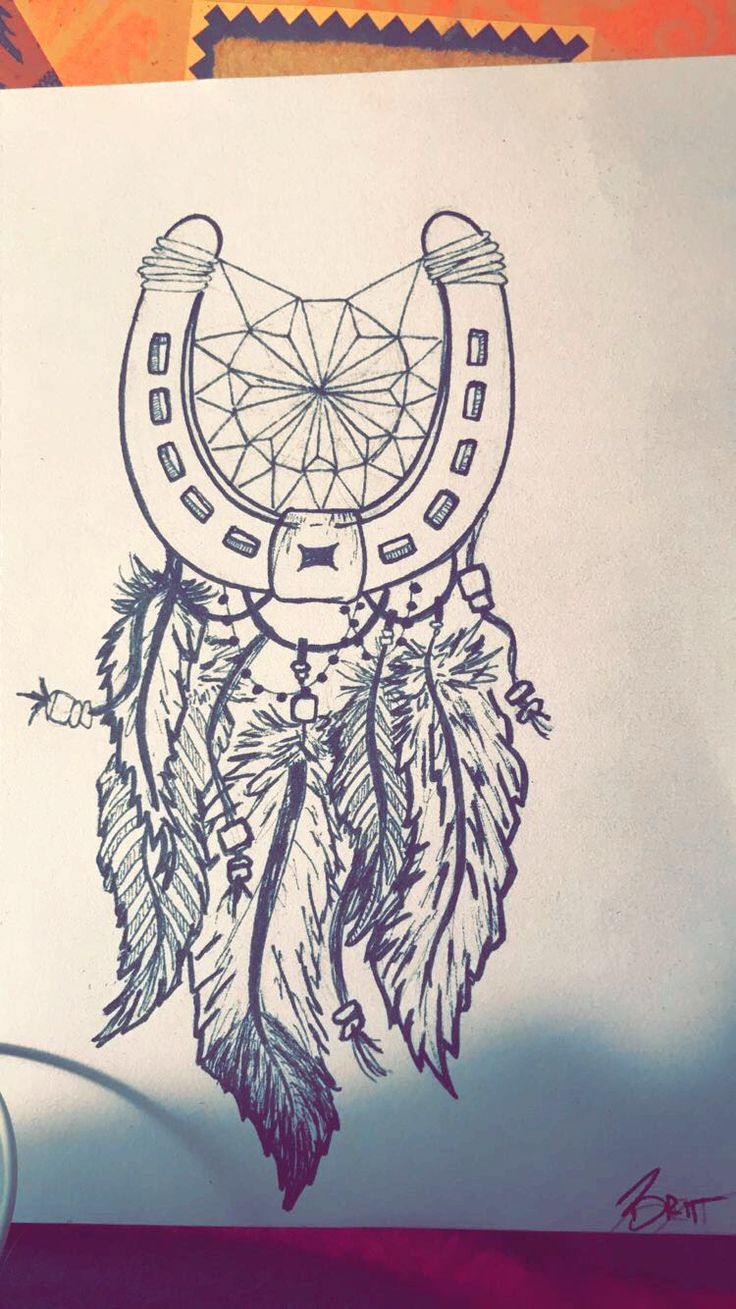 Horse shoe dream catcher. Tattoo idea for a friend. Might draw another on for her -Brittney Mulhair
