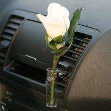 Auto Vase White Rose Car Flower Bud Vase Volkswagon Bug