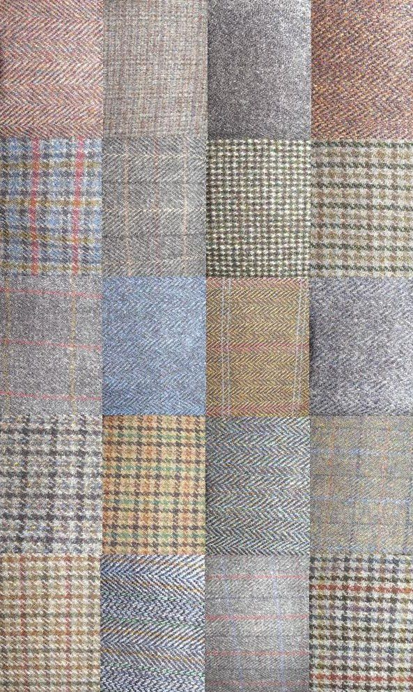 Just a few Harris Tweed fabrics photographed from the huge selection of Harris Tweed jackets we offer for sale.