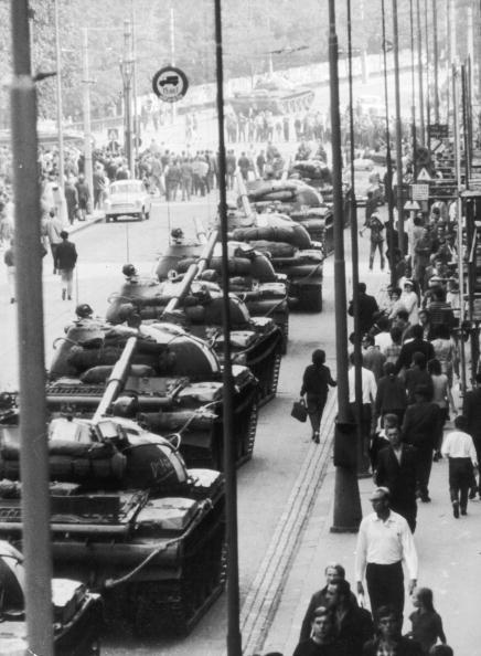 September 1968: Soviet T62 main battle tanks line up in the streets of Prague…