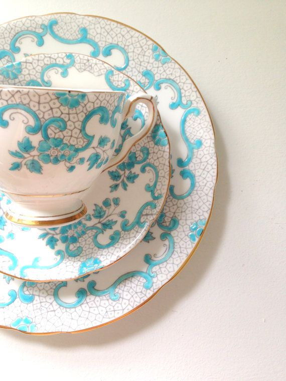 English Royal Stafford Fine Bone China Tea Cup and Saucer Trio Vintage Beach Inspired Wedding: