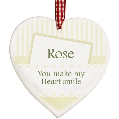 Personalised Elegant Cream Wooden Heart Decoration  from www.personalisedweddinggifts.co.uk :: ONLY £9.99