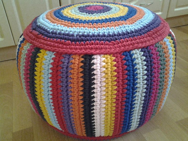 "STUFFED Crochet Pouf 38 cm/60 cm/23, 6""/15""/Poof/Ottoman/Footstool/Home Decor/Pillow/Bean Bag/Floor cushion by AnuszkaDesign on Etsy"