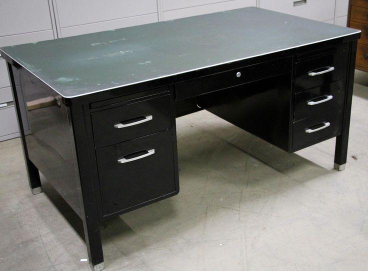 Vintage Steel Black Tanker Desk Velvoleum Top All Original Made By In The USA 199 Outlookofficesolu