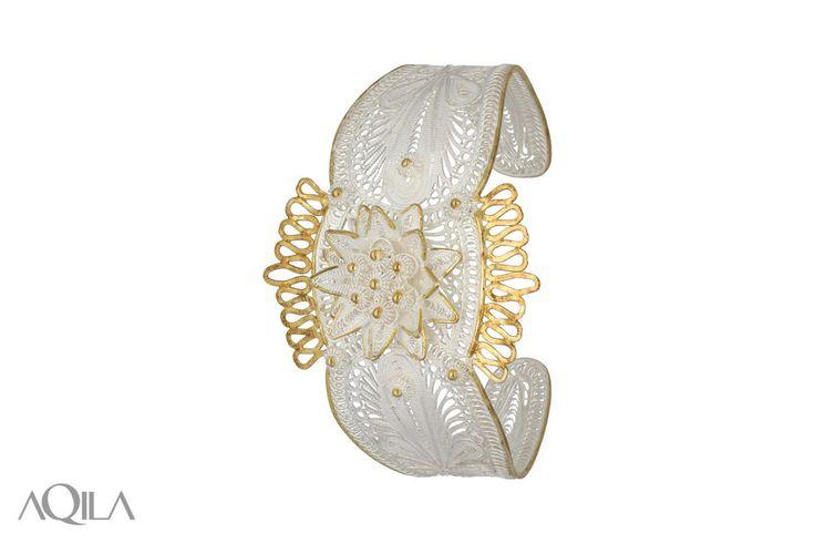 925 Sterling Silber Massiv Armreif Blüte Brautschmuck Telkari Filigran vergoldet in Uhren & Schmuck, Echtschmuck, Armbänder | eBay!