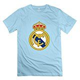 Mens Real Madrid Logo Custom 100% Cotton SkyBlue T Shirt By Mjensen