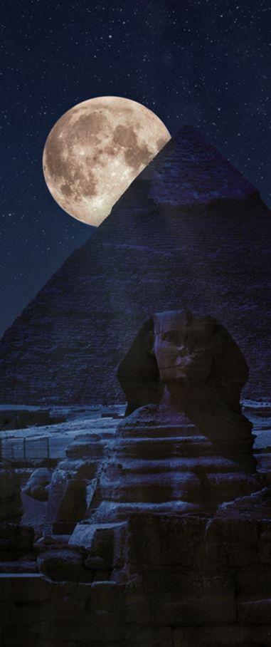 Full moon over Giza pyramid complex, Egypt