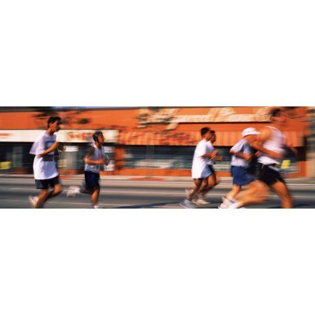 Runners competing in 10K Race Hollywood City of Los Angeles California USA Canvas Art - Panoramic Images (27 x 9)