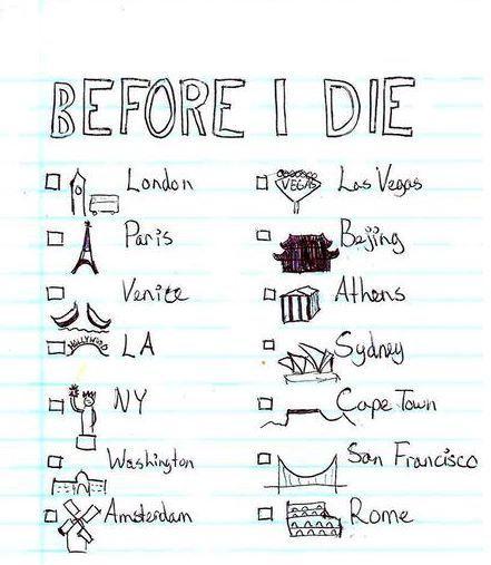 My bucket list - to visit before I die