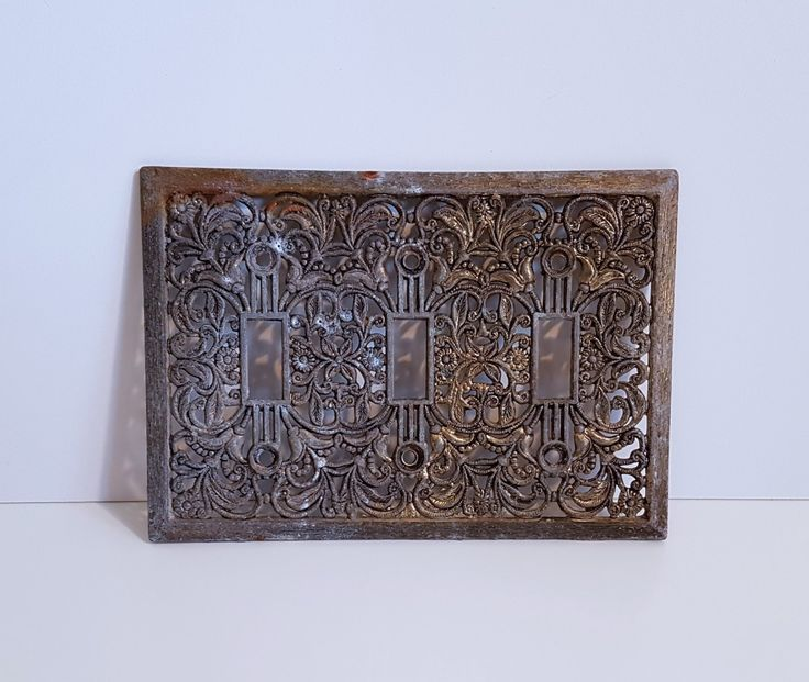 Vintage 3 Light Switch Cover Platet, Switch Plate, Floral, Filigree by RetroEnvy21 on Etsy