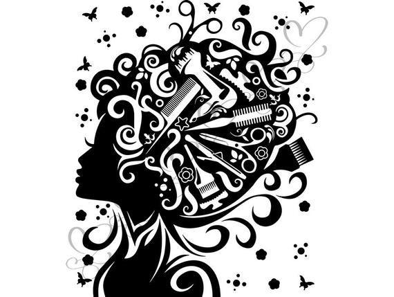 Hair Style Salon Beauty Scissors Comb Hairdresser Female Etsy Beauty Salon Logo Salon Logo Beauty Salon