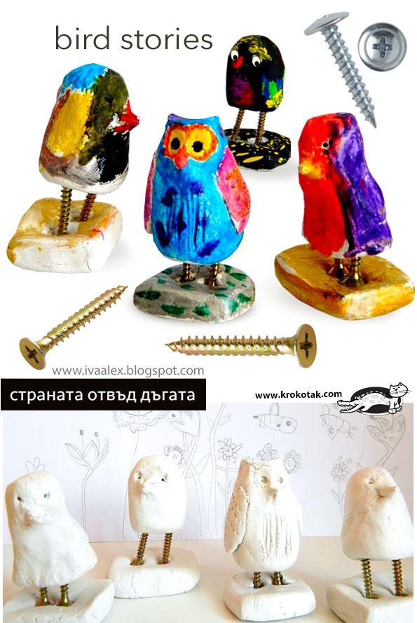 How to make clay birds with screws for feet.