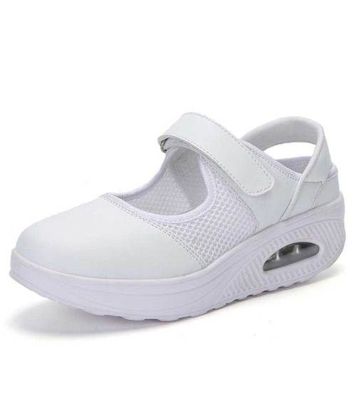 8ed61ba509 White cut out velcro slip on rocker bottom shoe sneaker | SLIP ONS ...