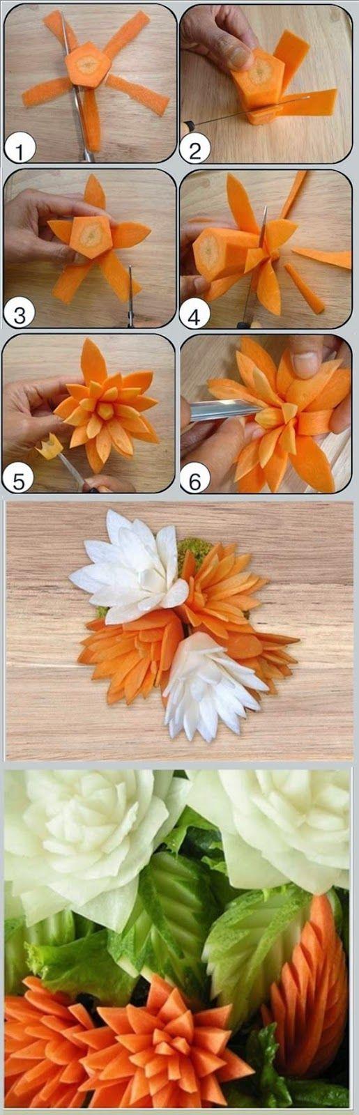 Creative Carrot flower idea - Foood Style