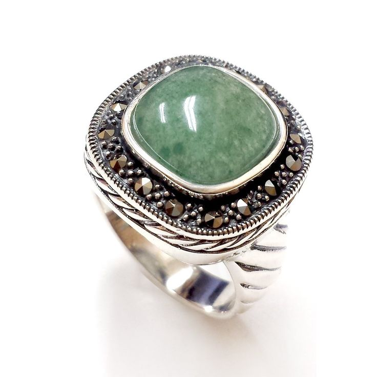 .925 Sterling Silver with Marcasite Natural Square Green Jade Ring (6):