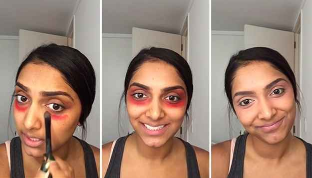 Vlogger Deepica Mutyala found the solution to dark under eye circles: orangey-red lipstick.