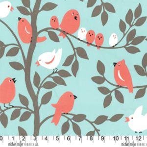 Michael Miller House Designer - Mod Prints - Tweetie Pie in Aqua Spring skirt/dress for S