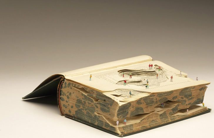 "UK-based artist Kyle Kirkpatrick carves pages from reading books to make ""imaginary landscapes."": Old Book, Book Art, Book Sculpture, Art Sculpture, Reading Book, Kyle Kirkpatrick, Book Landscape, Reading Landscape, Artists Kyle"