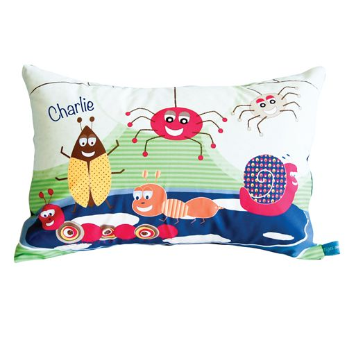 Happy Bugs Personalised Cushion for Boys Decor. Prices start at $34