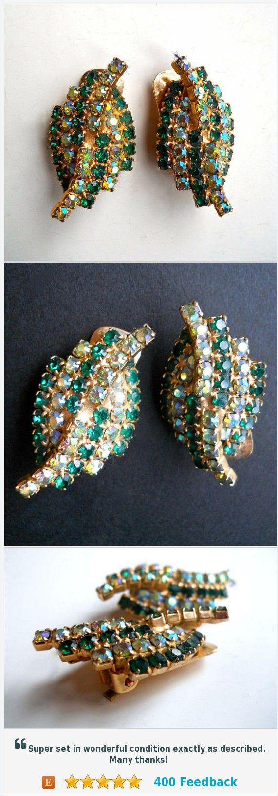 Green Rhinestone Kramer Earring, Aurora Borealis, Leaf Motif, Signed Vintage