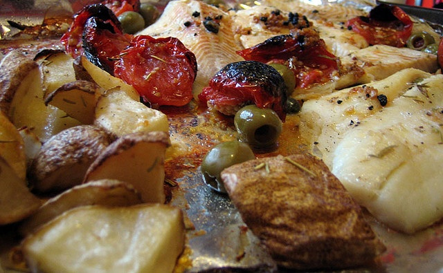 roasted fish with rosemary, olives and vegetables (can make vegetarian ...